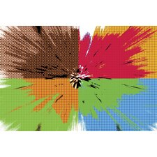 Bright Exploding Grid Graphic Art on Canvas