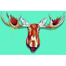"""Moose Head"" Graphic Art on Canvas"