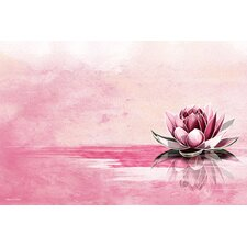 """Pink Lotus"" Graphic Art on Canvas"