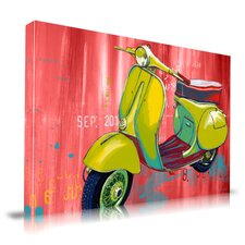 Vintage Scooter Graphic Art on Canvas