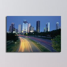 Texas Traffic at Dawn in Houston Photographic Print on Canvas