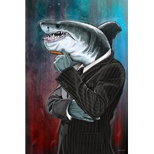 Business Shark Painting Print on Canvas