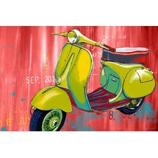 """Vintage Scooter"" Graphic Art on Canvas"