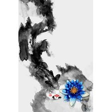 Water Lily Graphic Art on Canvas