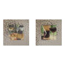 Vin Rouge 2 Piece Framed Painting Print Set
