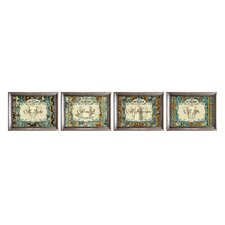 Coffee Label 4 Piece Framed Graphic Art Set