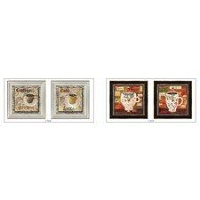 Cafe Latte 4 Piece Framed Graphic Art Set