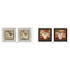 Cafe Latte Framed Art (Set of 4)