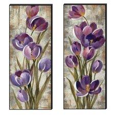 Purple Beauty Cutout 2 Piece Painting Print Plaque Set