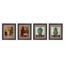 Gathered Glassware 4 Piece Framed Graphic Art Set