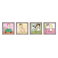 Girly Girl 4 Piece Framed Painting Print Set
