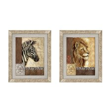 Safari Button Framed Art (Set of 2)