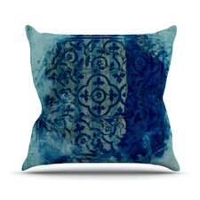 Mosaic in Cyan by Frederic Levy-Hadida Throw Pillow