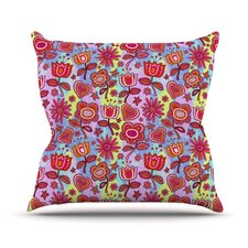 My Folk Flowers by Julia Grifol Throw Pillow