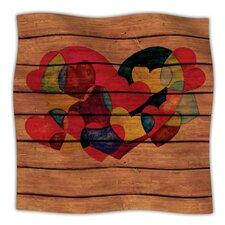 Wooden Heart Microfiber Fleece Throw Blanket