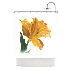 Yellow Tulip Polyester Shower Curtain