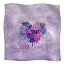 Painted Heart Microfiber Fleece Throw Blanket