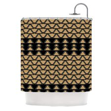 Deco Angles Gold Black Polyester Shower Curtain