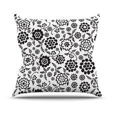 Cherry Floral White Throw Pillow