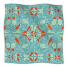 Seafoam and Orange Microfiber Fleece Throw Blanket