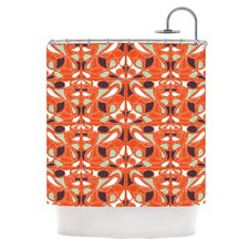Orange Swirl Kiss Polyester Shower Curtain