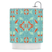 Seafoam and Orange Polyester Shower Curtain
