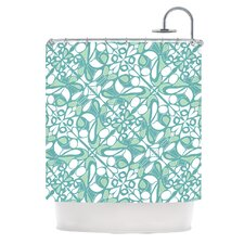 Swirling Tiles Teal Polyester Shower Curtain