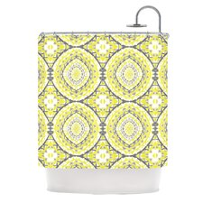 Yellow Tessellation Polyester Shower Curtain