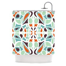 Stained Glass Orange Purple Polyester Shower Curtain