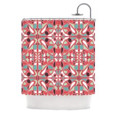 Stained Glass Pink Polyester Shower Curtain