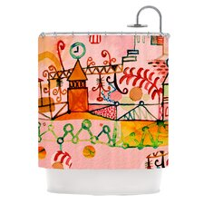 Happy Town Polyester Shower Curtain