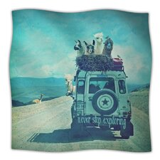 Never Stop Exploring III Microfiber Fleece Throw Blanket