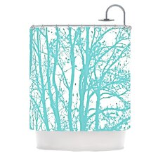 Mint Trees Polyester Shower Curtain