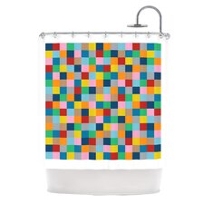 Colour Blocks Zoom Polyester Shower Curtain