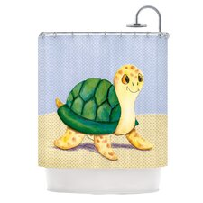 Slow And Steady Polyester Shower Curtain