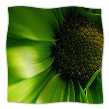 Green Flower Microfiber Fleece Throw Blanket