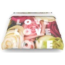 """""""Love Love Love"""" Roses Woven Comforter Duvet Cover"""