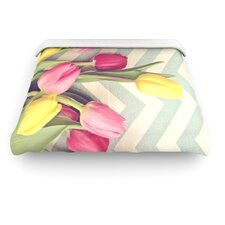 """Tulips and Chevrons"" Woven Comforter Duvet Cover"