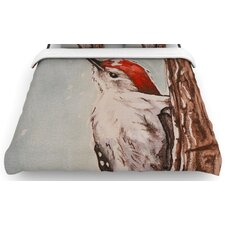 """Downy Woodpecker"" Woven Comforter Duvet Cover"