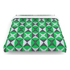 """Silver and Green Abstract"" Woven Comforter Duvet Cover"