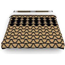 """Deco Angles Gold Black"" Woven Comforter Duvet Cover"