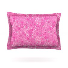 Welcome Birds To My Pink Garden by Julia Grifol Woven Pillow Sham