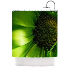 Green Flower Polyester Shower Curtain