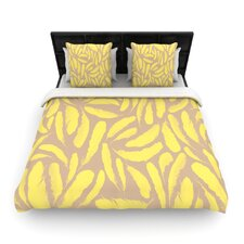 Yellow Feather by Skye Zambrana Woven Duvet Cover