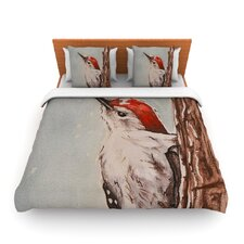 Downy Woodpecker by Brittany Guarino Fleece Duvet Cover