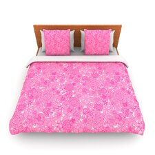 Welcome Birds To My Pink Garden by Julia Grifol Fleece Duvet Cover