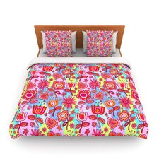 My Folk Flowers by Julia Grifol Fleece Duvet Cover