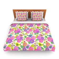 My Birds and My Flowers by Julia Grifol Fleece Duvet Cover