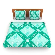 Diamonds Mint by Anneline Sophia Fleece Duvet Cover