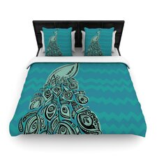 Peacock Blue II by Brienne Jepkema Woven Duvet Cover